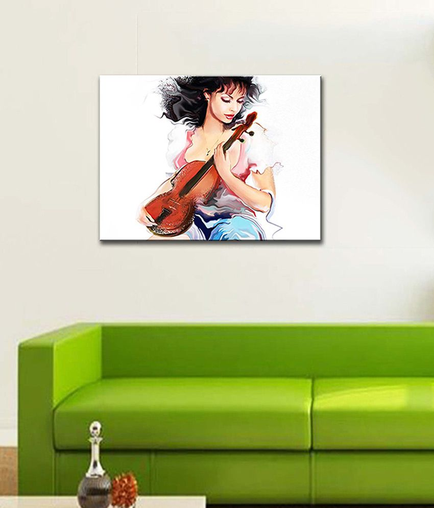 Tallenge Girl with The Violin Canvas Art Prints Without Frame Single Piece