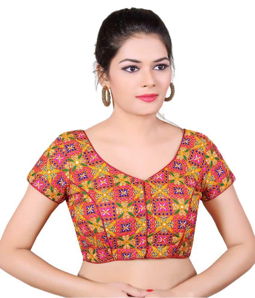 Atulya Designer Blouse Multicoloured Round Shape With Dori Blouse
