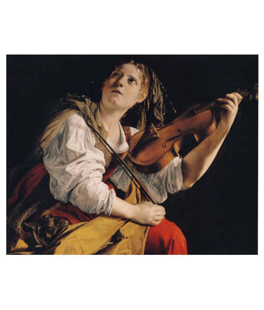 Tallenge Young Woman Playing A Violin Gallery Wrap Canvas Art Prints With Frame Single Piece