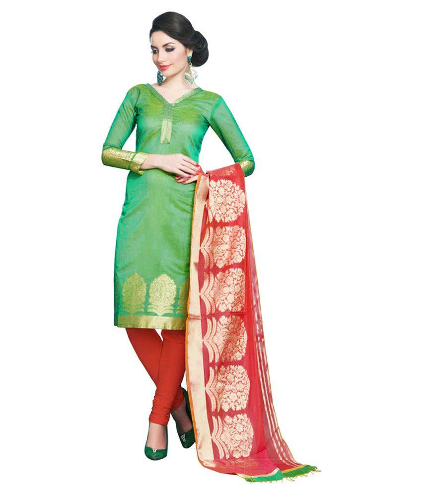 7bc4c414f9 Snowfall Green and Red Banarasi Silk Dress Material - Buy Snowfall Green  and Red Banarasi Silk Dress Material Online at Best Prices in India on  Snapdeal