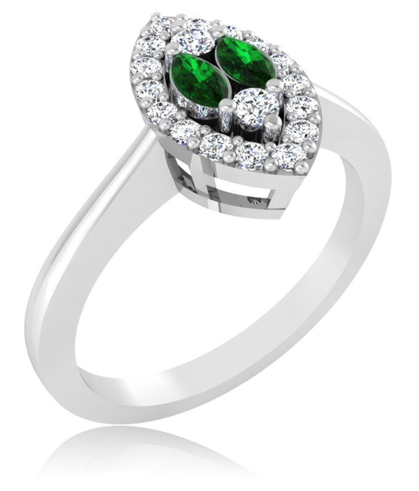 Carat Forever 18k White Gold Emerald Ring