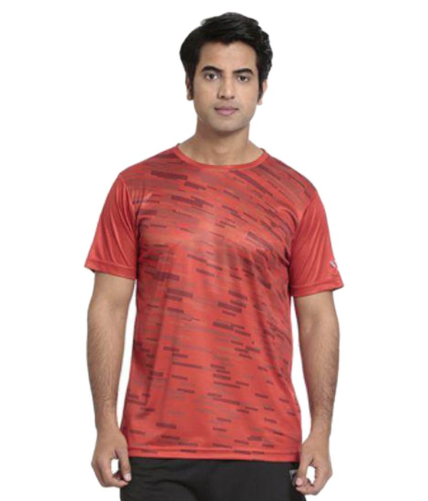 Seven Red Polyester T-Shirt