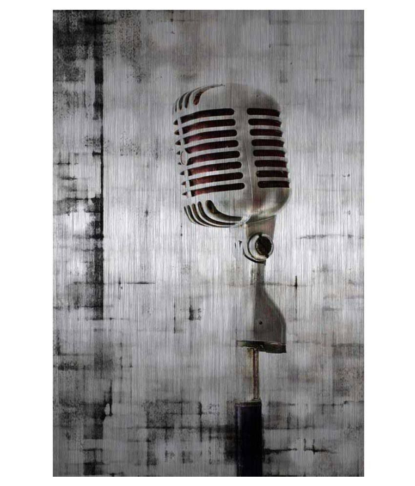 Tallenge Brushed Metal Microphone Rolled Canvas Art Prints Without Frame Single Piece