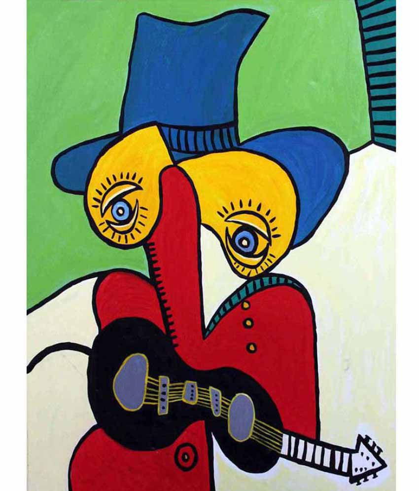 Tallenge Guitarist With Hat Rolled Canvas Hand Paintings Without Frame Single Piece