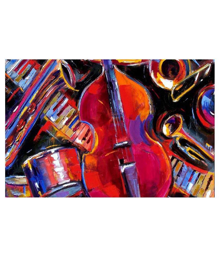 Tallenge Lets Get The Music Started Rolled Canvas Hand Paintings Without Frame Single Piece