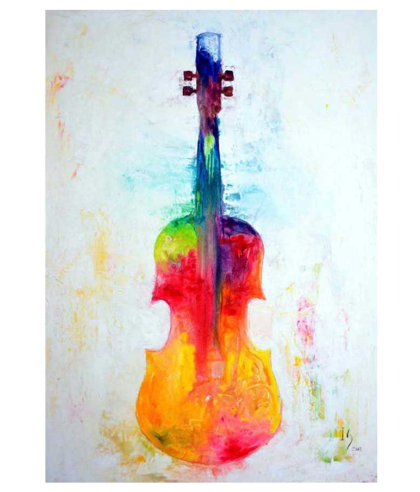 Tallenge The Colorful Violin Rolled Canvas Art Prints Without Frame Single Piece