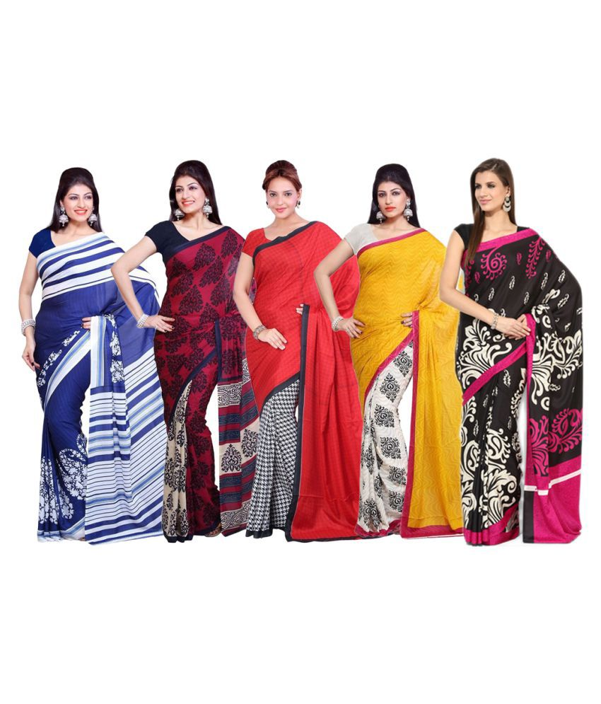 Parchayee Multicoloured Crepe Saree Combos