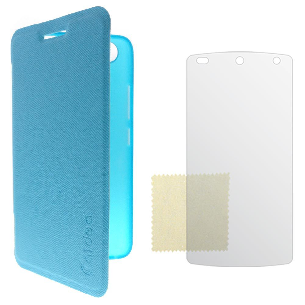 Vulkan Caidea Flip Cover Case For Asus Zenfone 2 (All Variants) - Blue with Screen Guard