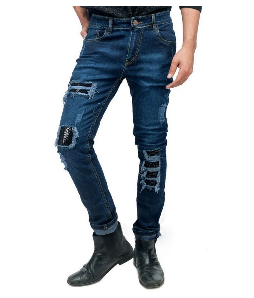 Anbow Blue Slim Fit Distressed Jeans