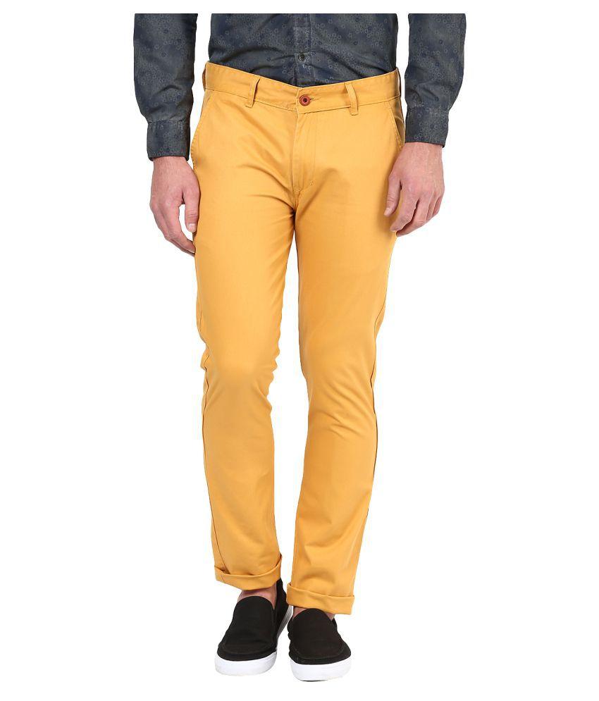Silver Streak Yellow Slim Flat Trouser