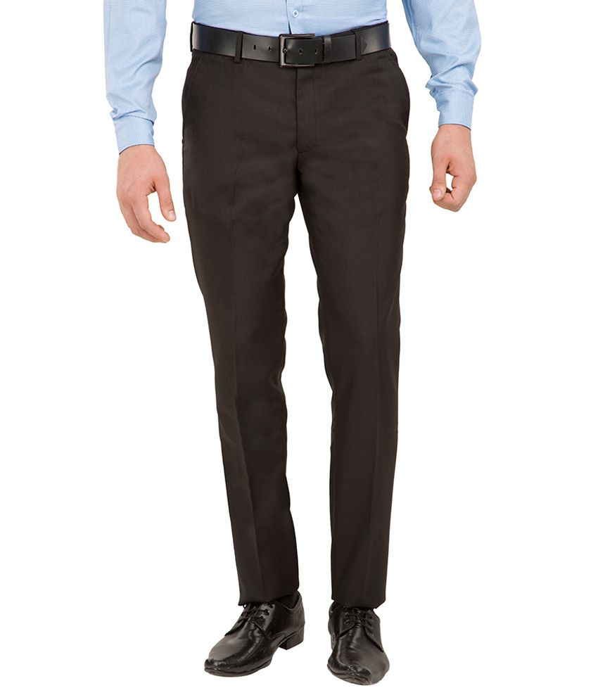 Black Coffee Black Slim Fit Flat Trousers