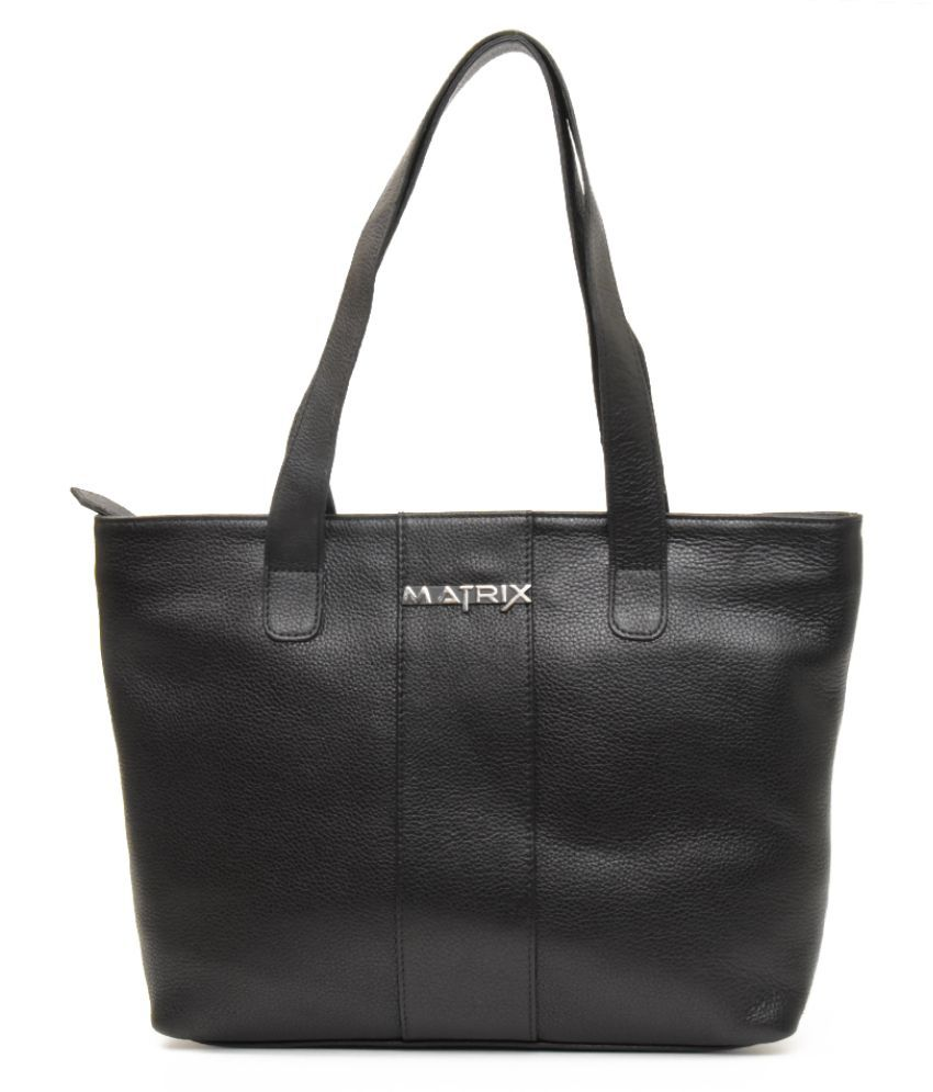 Matrix Black Pure Leather Shoulder Bag