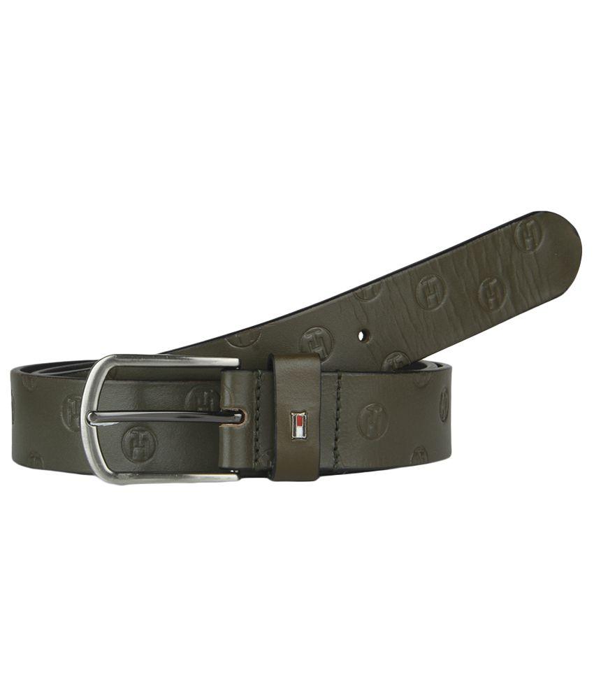 Tommy Hilfiger Green Leather Belt For Men