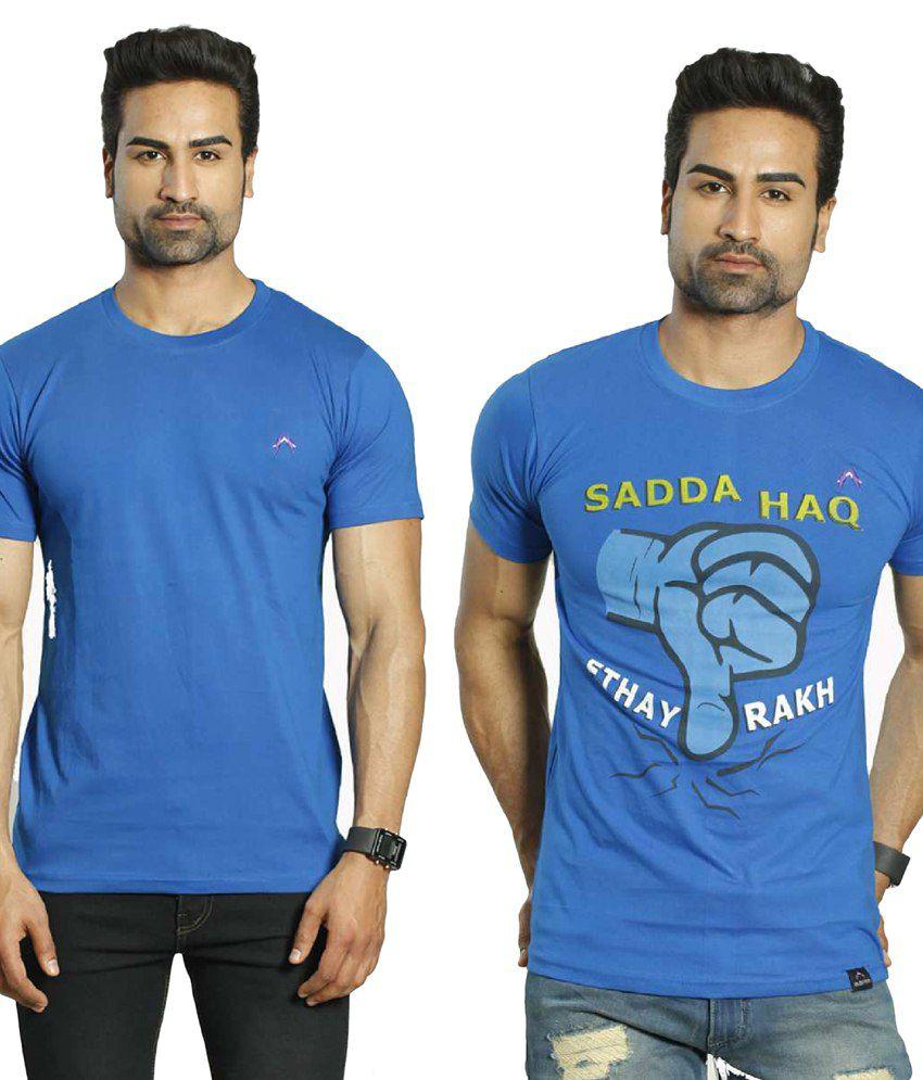Albiten Blue Round T-Shirt Pack of 2