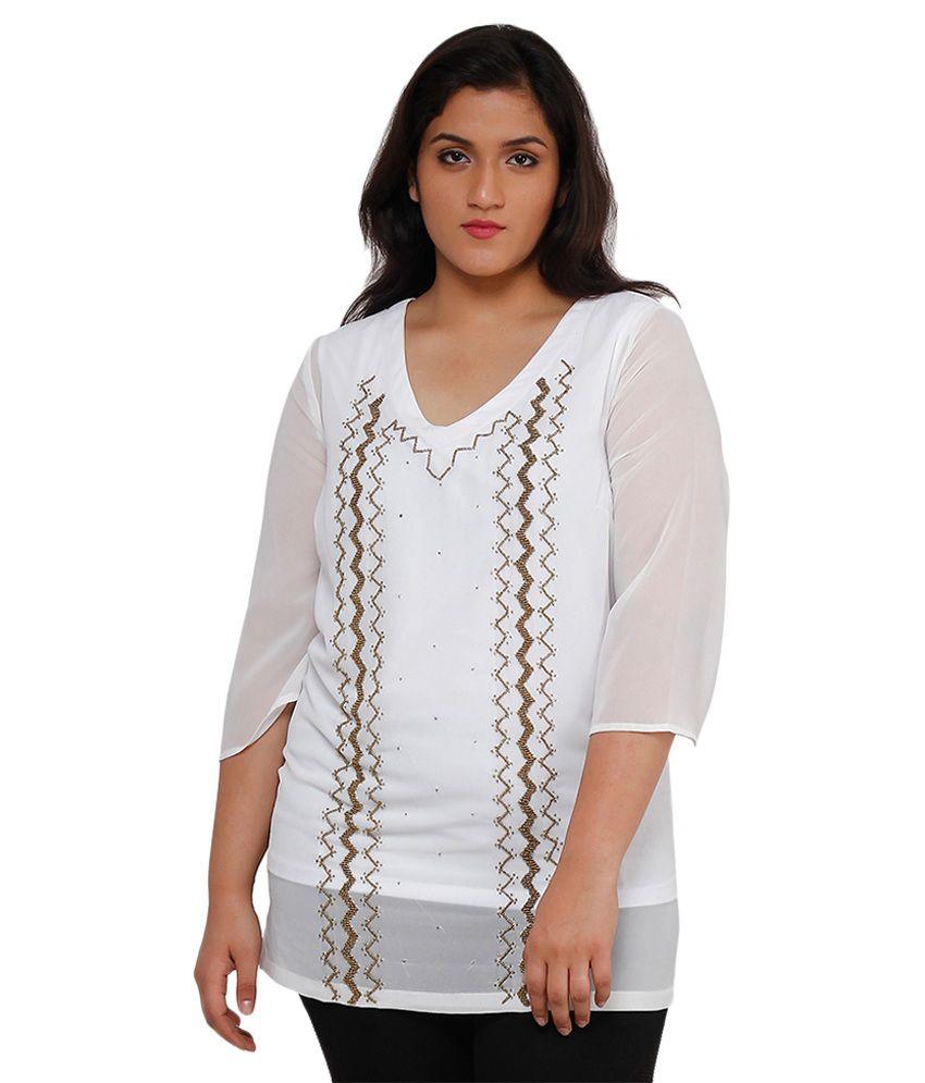 Oxolloxo White Polyester Tunics