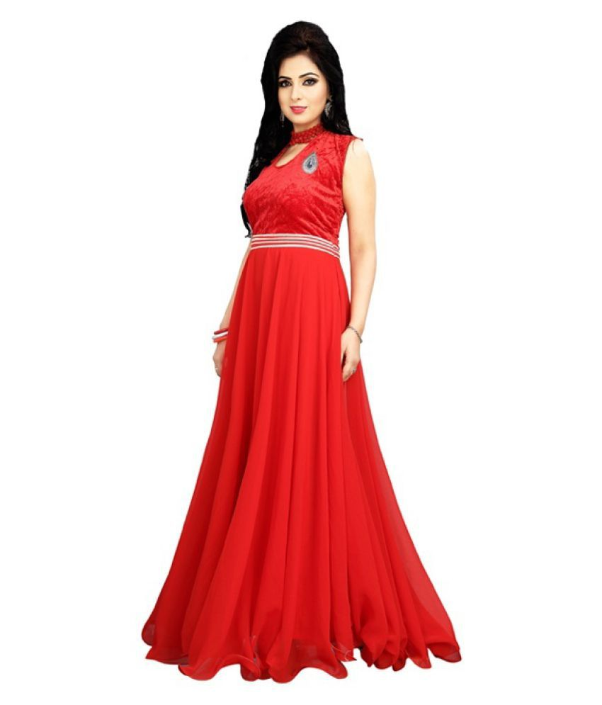 1d097ea557a 19 Likes Red Georgette Gown - Buy 19 Likes Red Georgette Gown Online at Best  Prices in India on Snapdeal