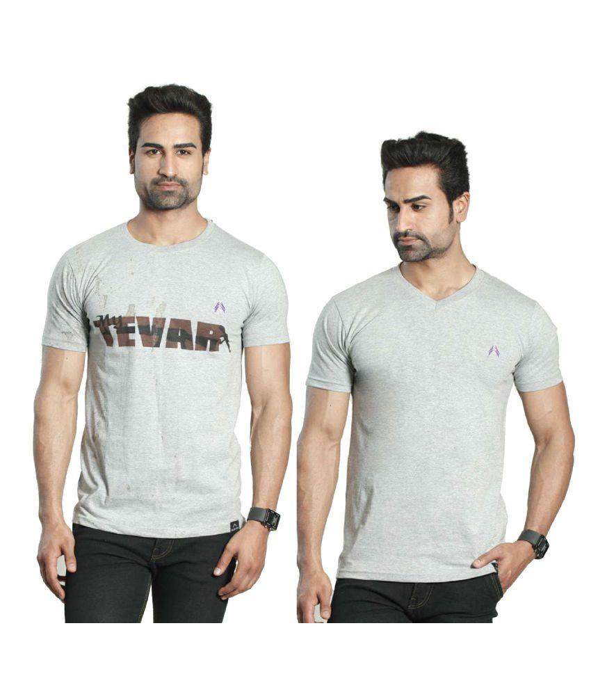 Albiten Grey Round T-Shirt Pack of 2