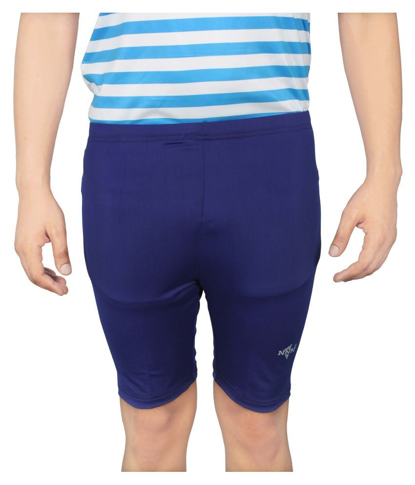 NNN Men's Blue Knee Length Lycra Cycling Shorts