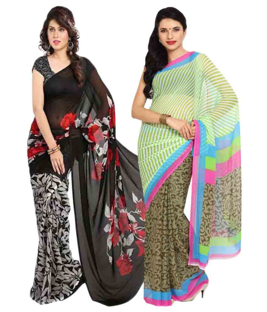 Parchayee Multicoloured Chiffon Saree Combos
