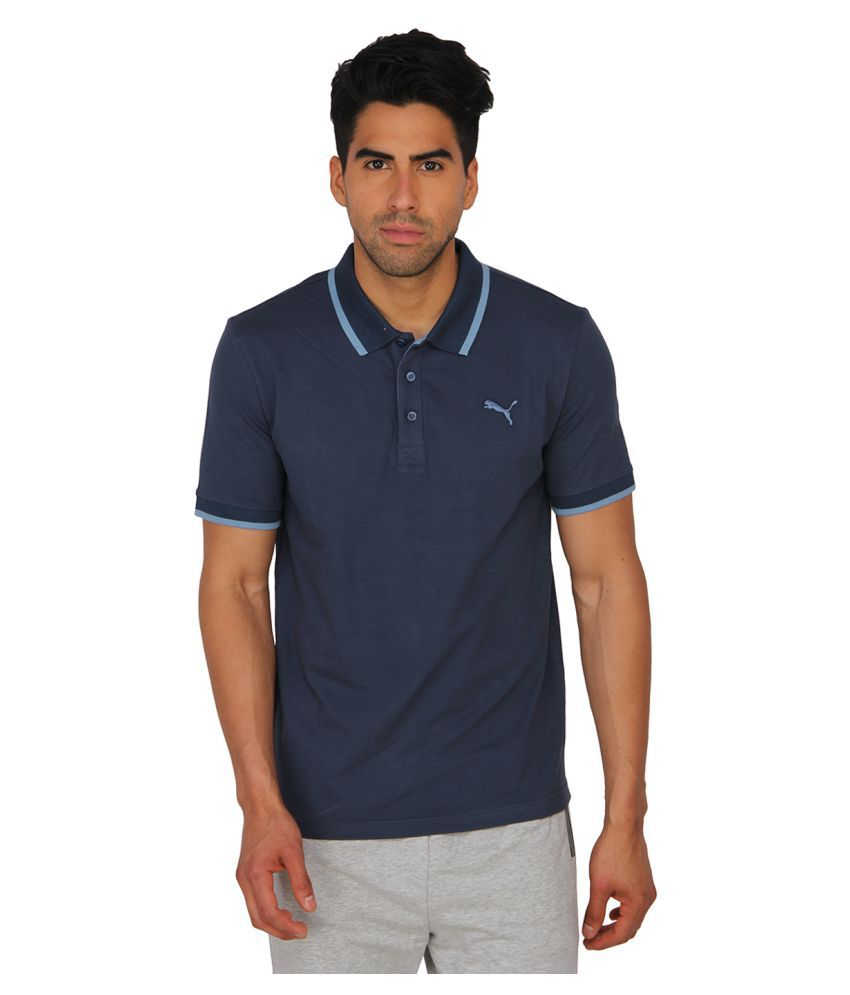 Puma Blue Cotton Polo T-Shirt for Men