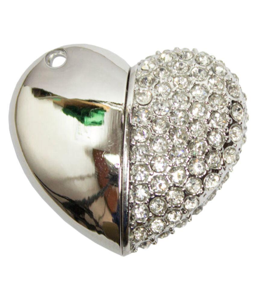 Zeztee Heart Shape Fancy ZTCRPD1042_SL 16GB USB 2.0 Fancy Pendrive Silver