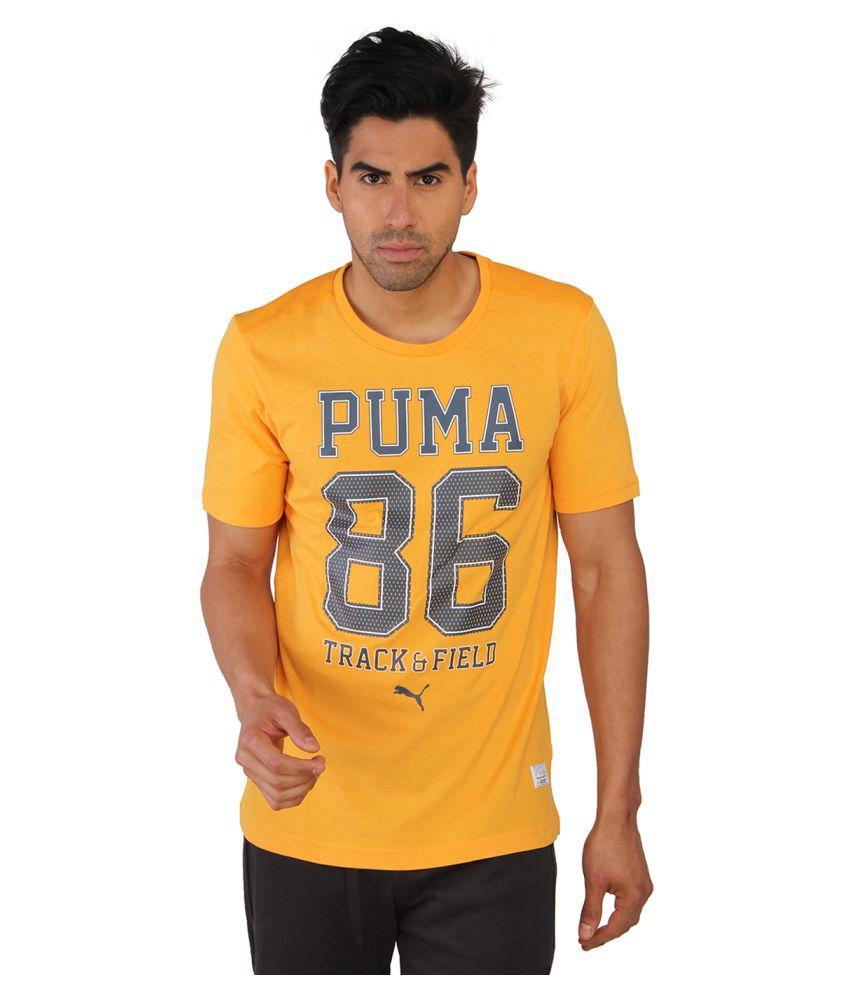 Puma Yellow Cotton T-Shirt