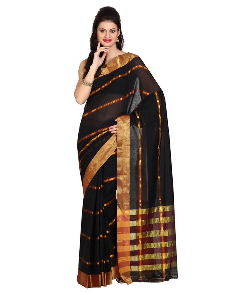 Satrang Black Cotton Saree