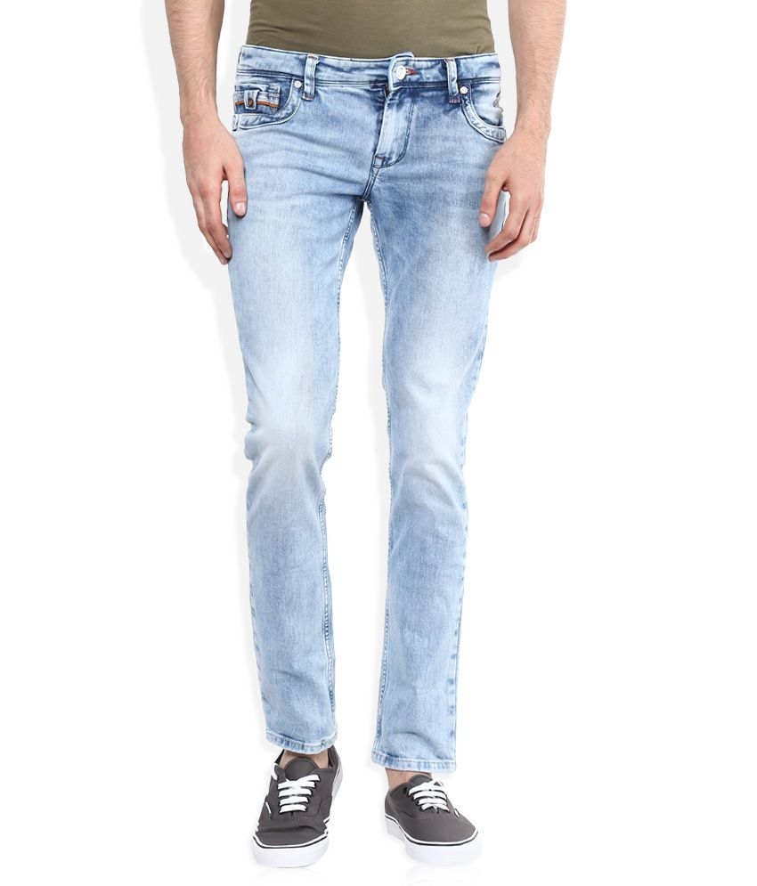 Integriti Blue Skinny Fit Faded Jeans