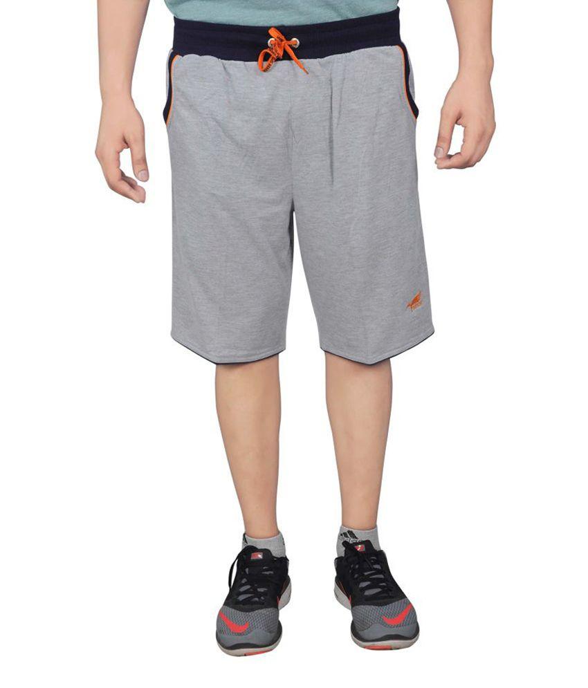 NNN Men's Grey Knee Length Cotton Bermuda