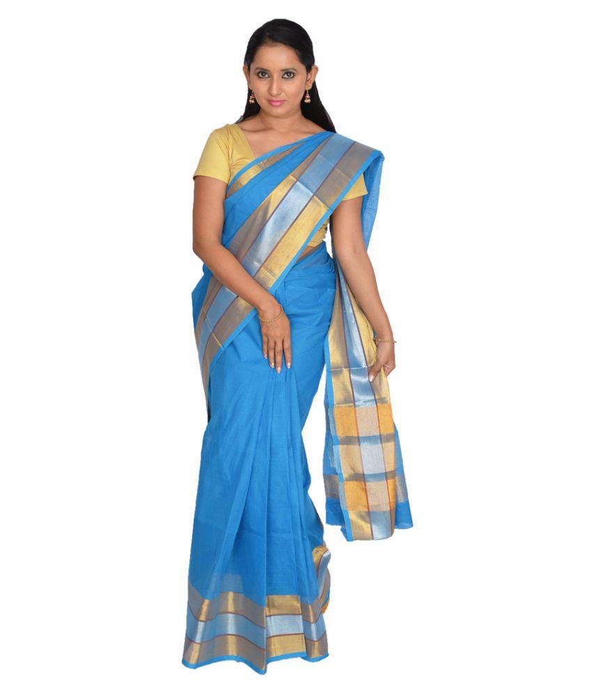 Abhi silks Blue Cotton Saree