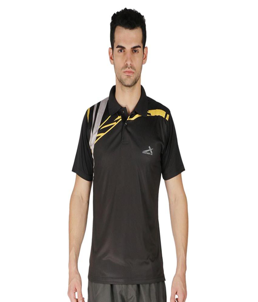 Vector X Black Polyster Polo T-Shirt