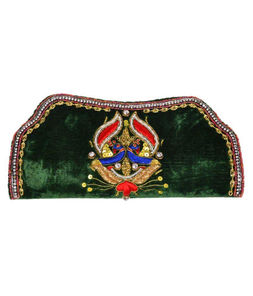Himalaya Handicraft Green Fabric Box Clutch