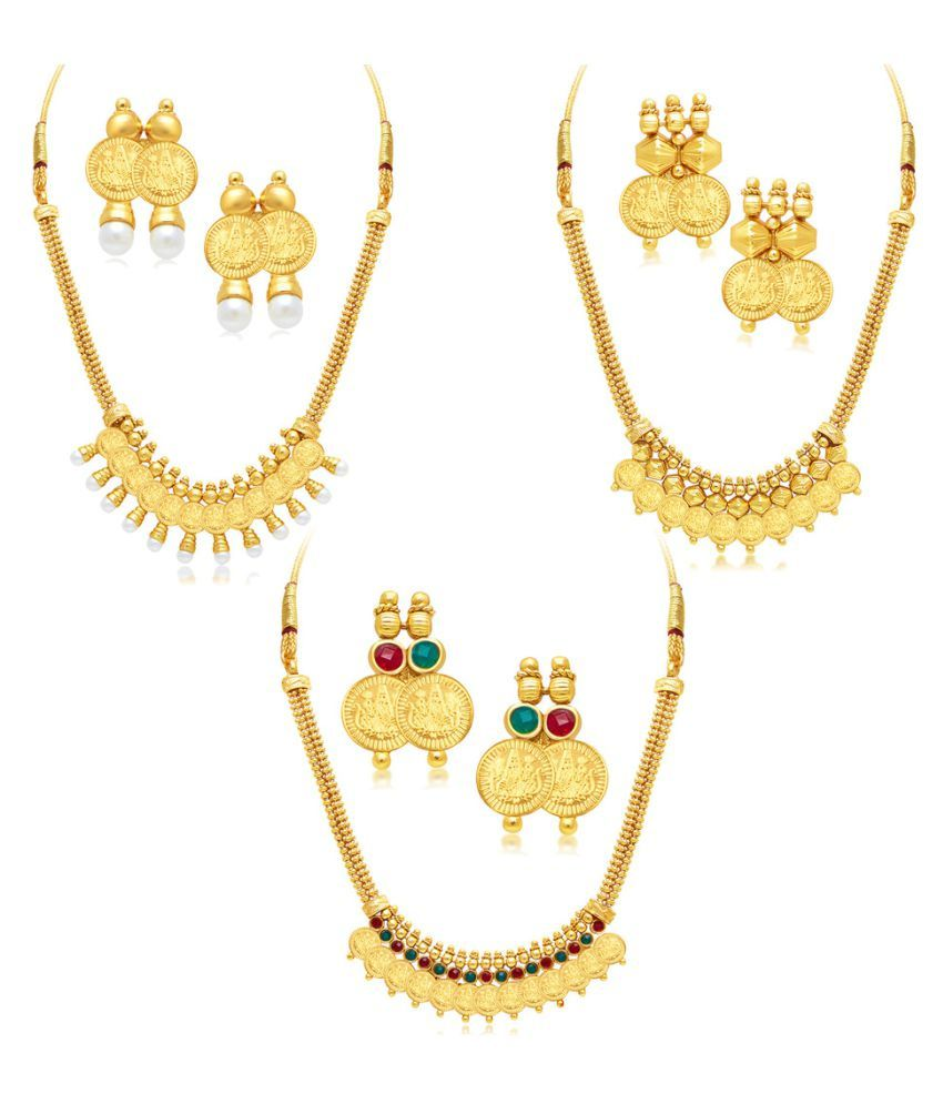 Sukkhi Golden Alloy Necklace Set for Women - Set of 3