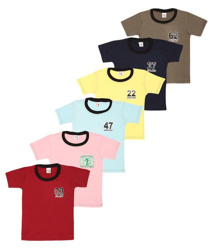 SR Kids Multicolor T-Shirt - Pack of 6