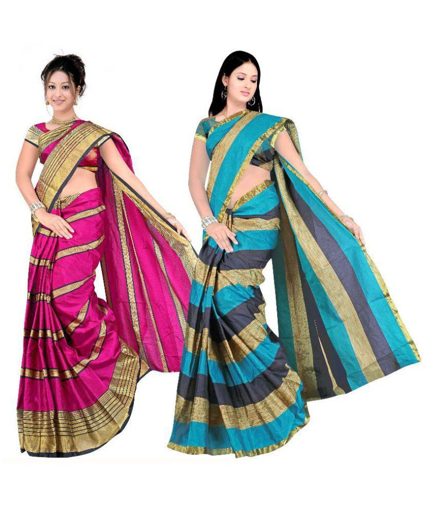 10b71f292 7 Brothers Multicoloured Cotton Silk Saree Combos - Buy 7 Brothers  Multicoloured Cotton Silk Saree Combos Online at Best Prices in India on  Snapdeal