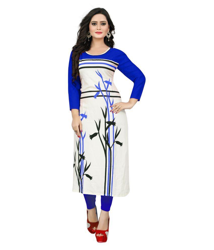 Krishnam Fashion White Rayon Straight Floral Kurti