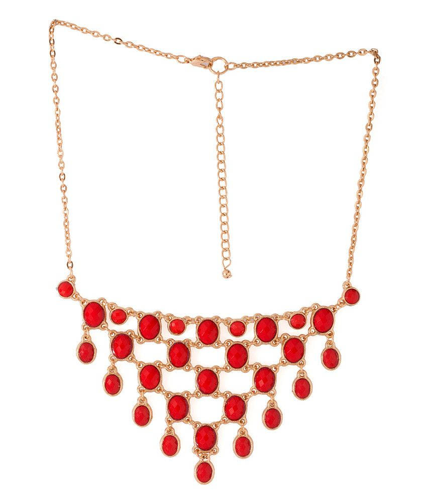 Voylla Red Alloy Necklace