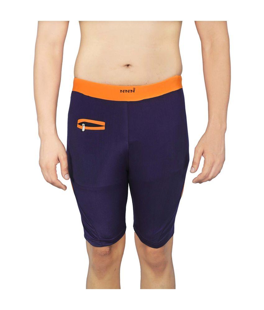 NNN Navy Blue Knee Length Men's Swimming Trunk