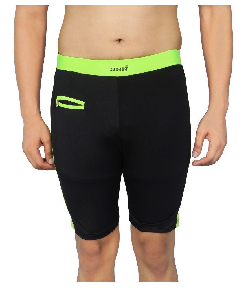 NNN Black Knee Length Lycra Swimming Trunk/ Swimming Costume