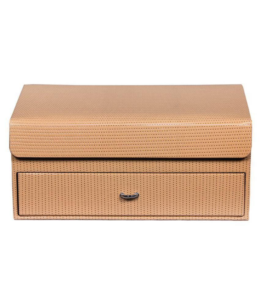 Leather World Beige Leather Jewellery  Box