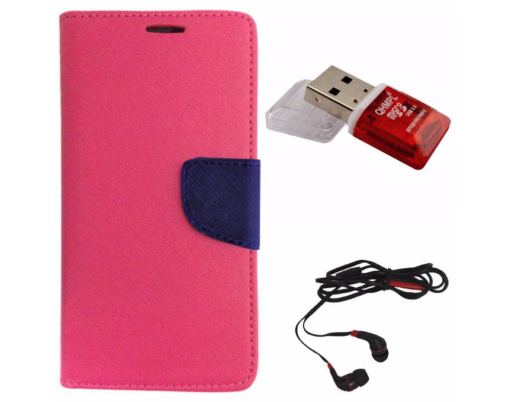 Avzax Diary Look Flip Wallet Case Cover For Samsung Galaxy S6 (Pink) +  Memory Card Reader + In Ear Headphone