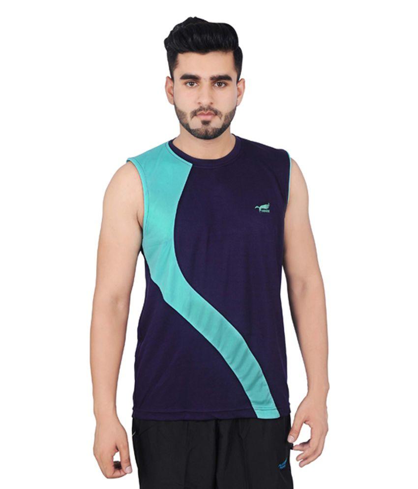 NNN Men's Sleeveless Dry Fit Navy Blue T-shirt