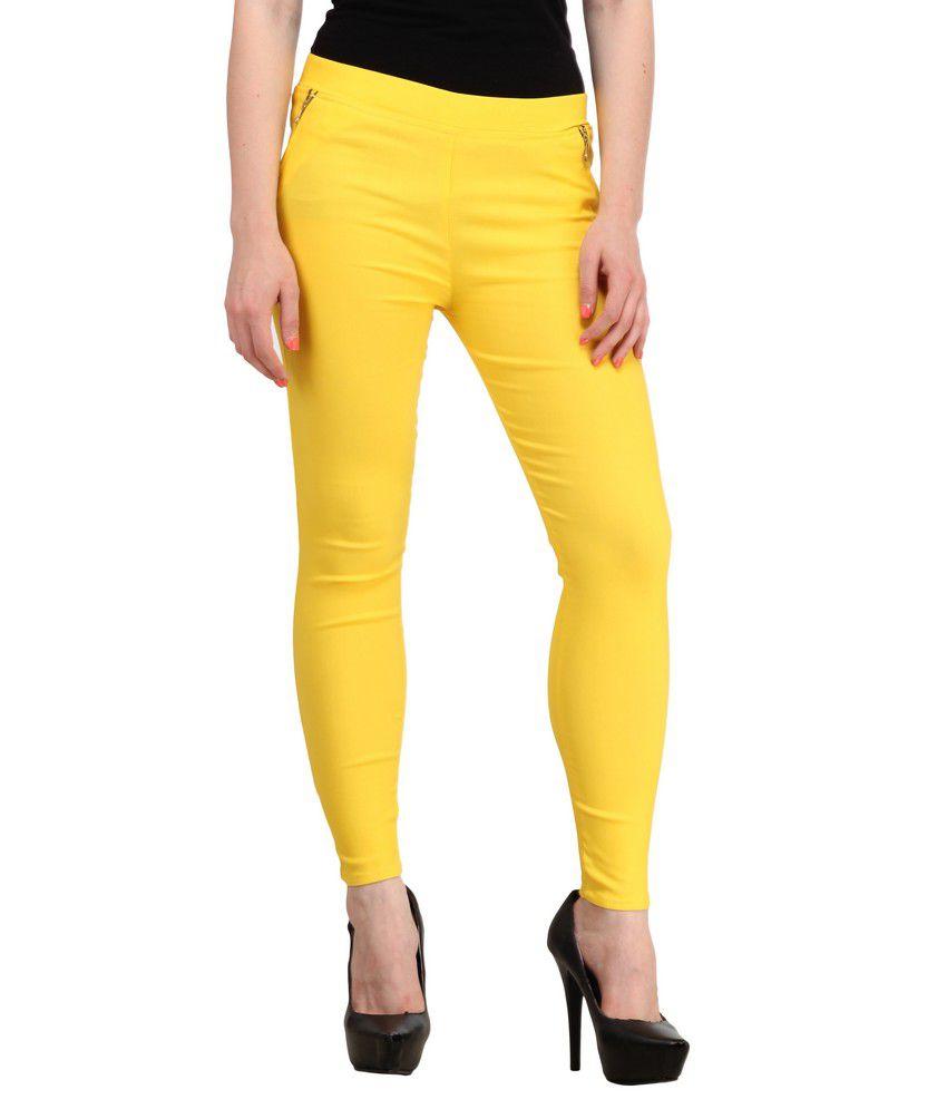 Sritika Yellow Cotton Lycra Jeggings