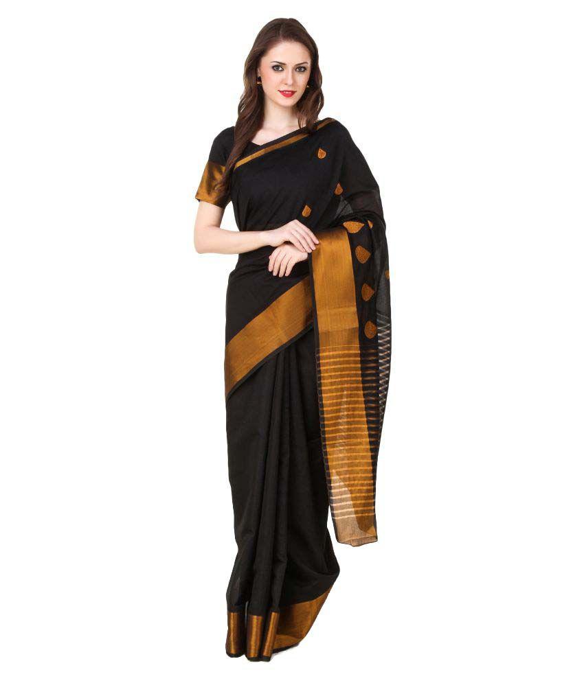 Al- Falah International Black Banarasi Silk Saree