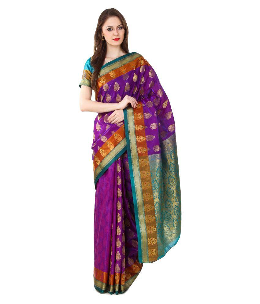 Al- Falah International Brown and Purple Banarasi Silk Saree