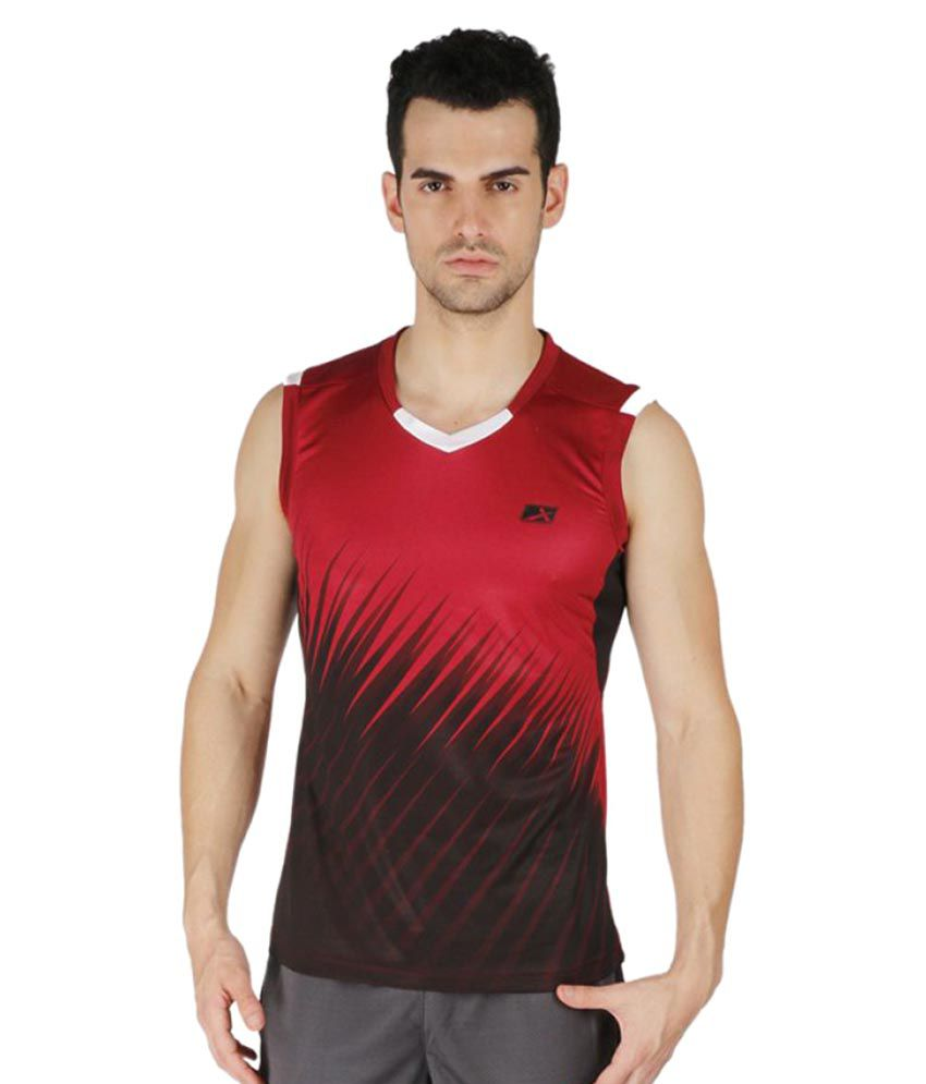 Vector X Red Polyster V-Neck T-Shirt