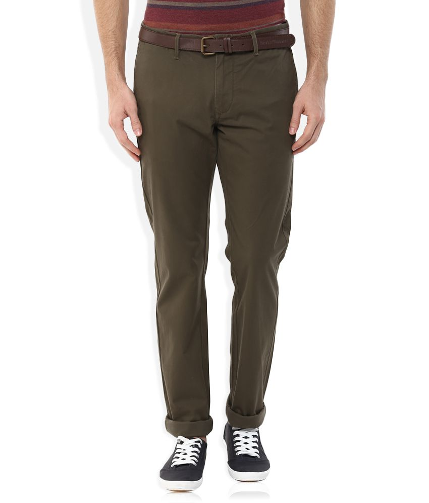 Indian Terrain Green Slim Fit Chinos With Belt