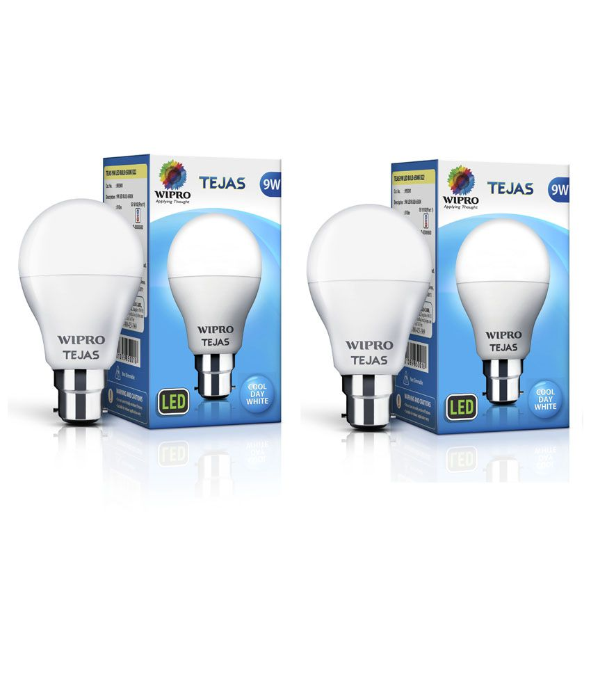 Wipro 9W Pack Of 2 LED Bulbs: Buy Wipro 9W Pack Of 2 LED