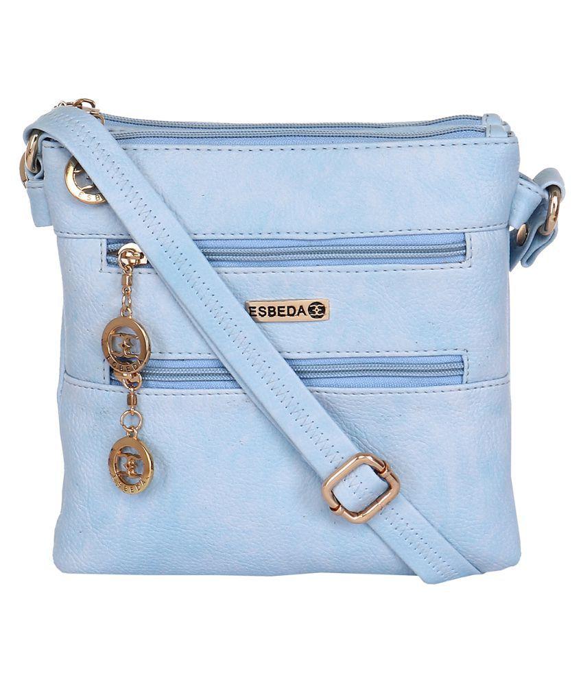 Esbeda Blue Faux Leather Sling Bag