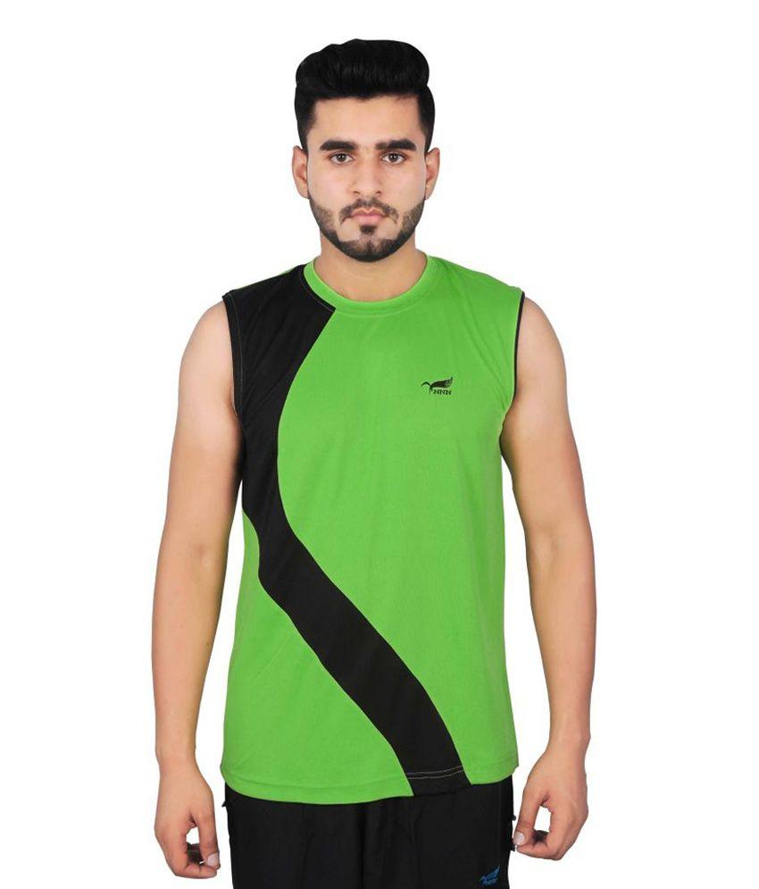 NNN Green Sleeveless Dry Fit Men's T-shirt